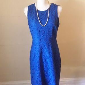 NWOT J. Crew Royal Blue Lace Overlay Sheath Dress